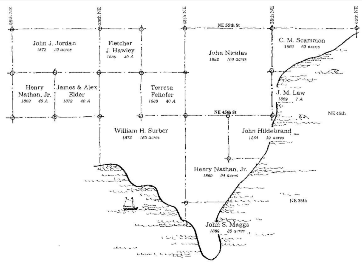 Map of land claims in what is now Laurelhurst, Seattle