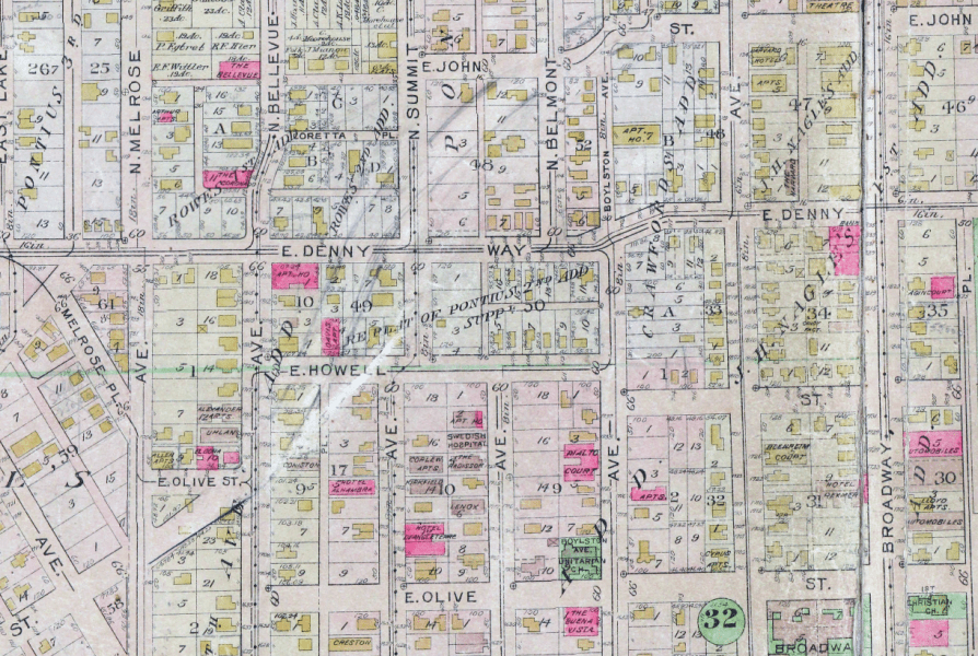 Route of Olive Way drawn on 1912 Baist Atlas plate of Capitol Hill