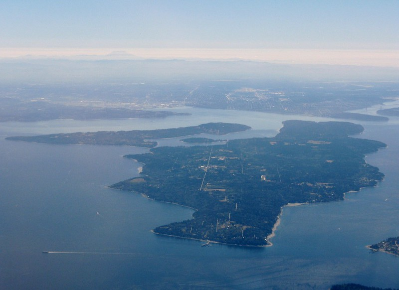 Aerial view of Vashon Island from the northwest