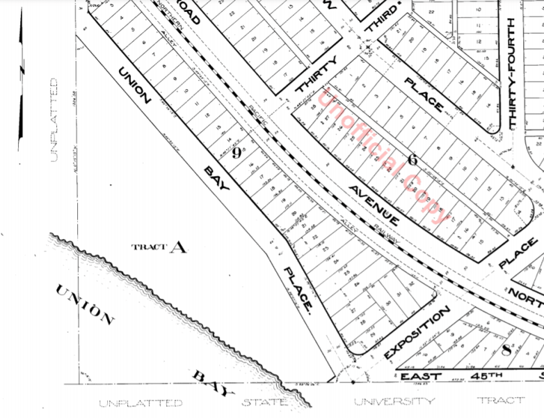 Portion of plat map of Exposition Heights showing Union Bay and Union Bay Place
