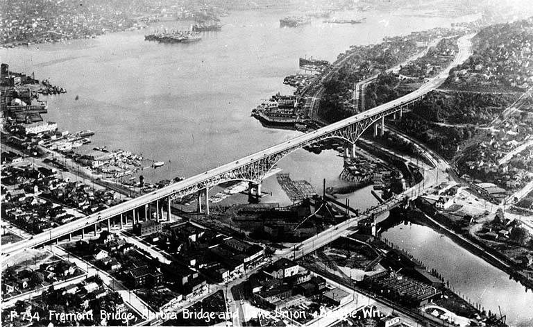 Lake Union, Lake Washington Ship Canal, the Fremont Bridge, and the George Washington Memorial Bridge (Aurora Bridge), Seattle, Washington, circa 1932, from https://flickr.com/photos/uw_digital_images/4860576629/
