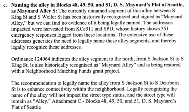 Portion of Summary and Fiscal Note to Seattle Ordinance 125753 Regarding Maynard Alley S, from http://clerk.seattle.gov/search/ordinances/125753
