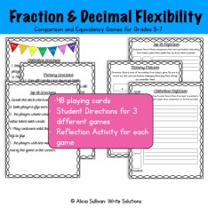 Game and Reflection activities for fractions and decimals