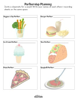 Student partnership resource sheet with food pictures