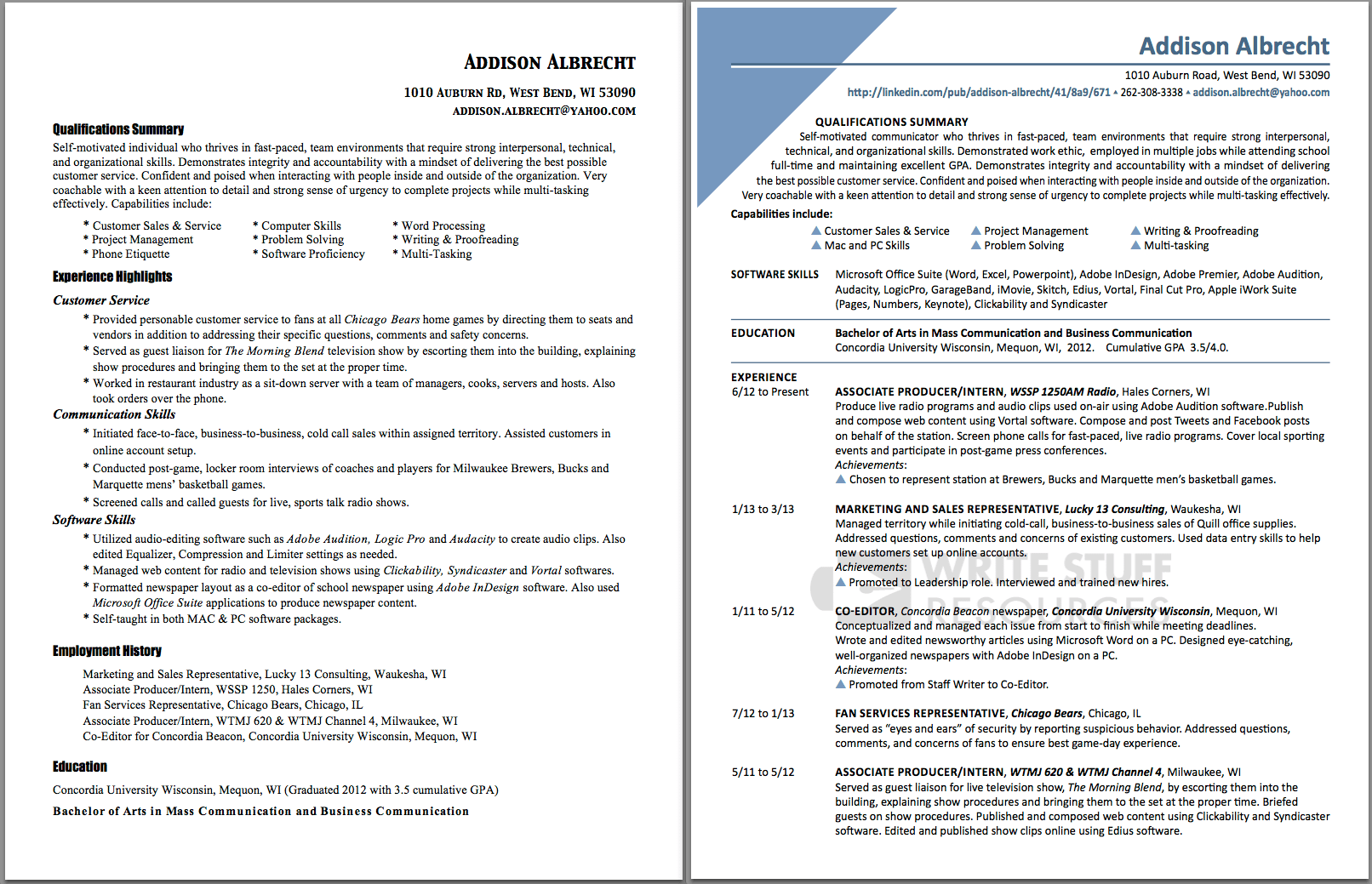 Student Resume Before & After Write Stuff Resources