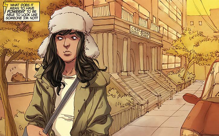Ms. Marvel comics (Kamala Khan) near her high school ushanka