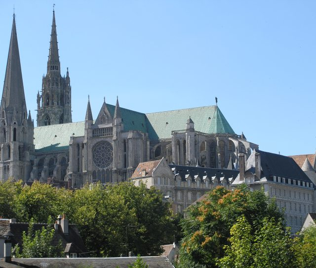 Chartres Cathedral France A Famous Landmark Which Draws Both Pilgrims And Art Lovers