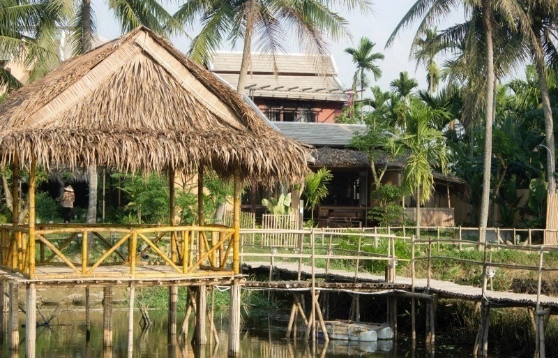 Meditation Retreat Vietnam - Write Your Journey: An Villa Boutique Resort Hoi An, Bamboo Hut above the lake is used for the yoga and meditation practice during the meditation retreat.