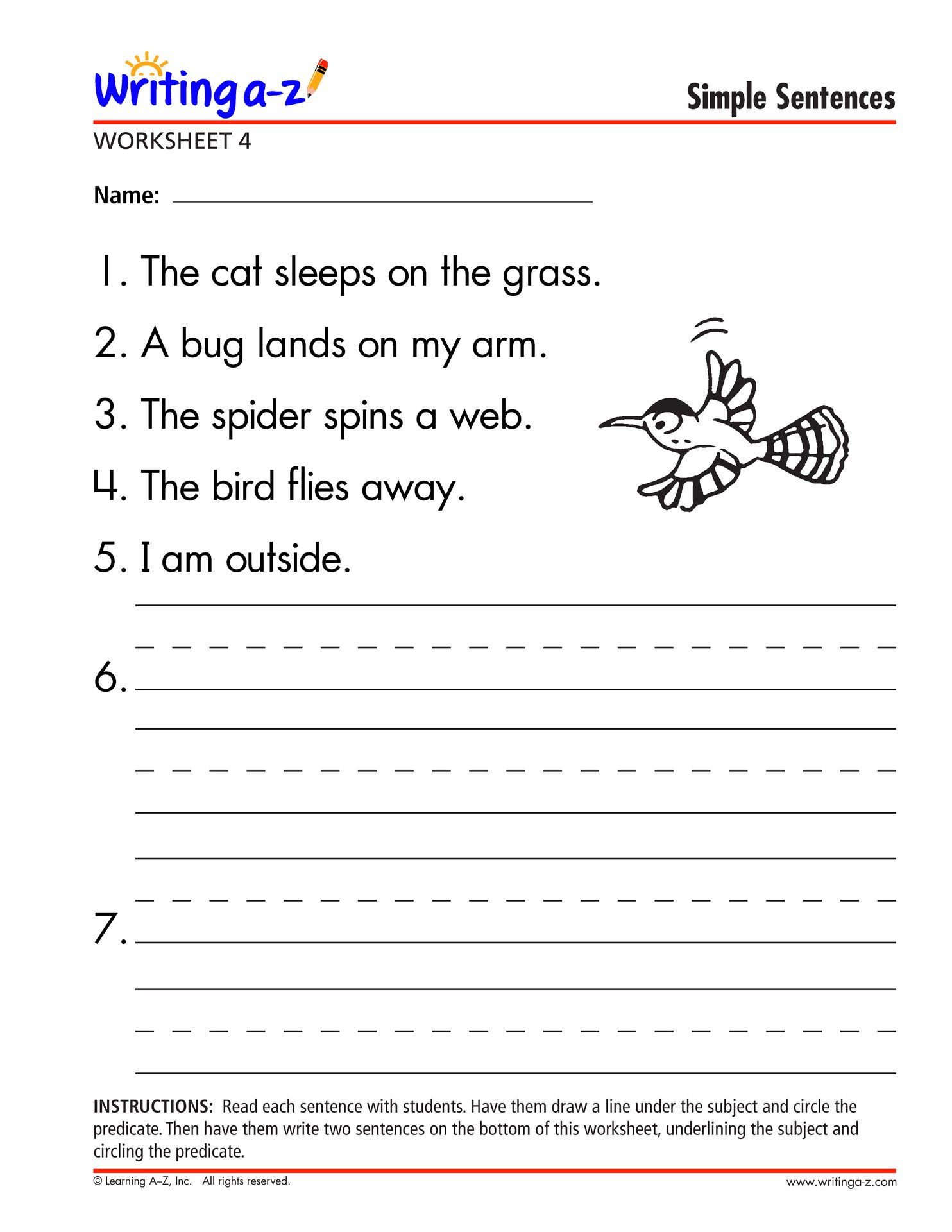 Mockinbirdhillcottage Simple Sentences To Write