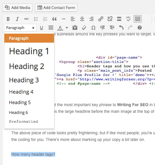 Formatting subheads in WordPress