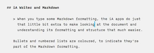 Writedown displayed in iA Writer