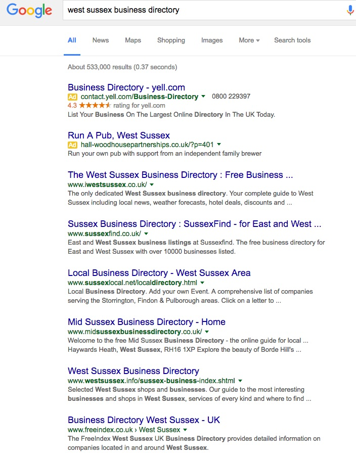 West Sussex Business Directories Search Results