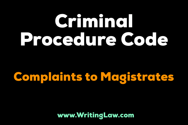 crpc Complaints To Magistrates