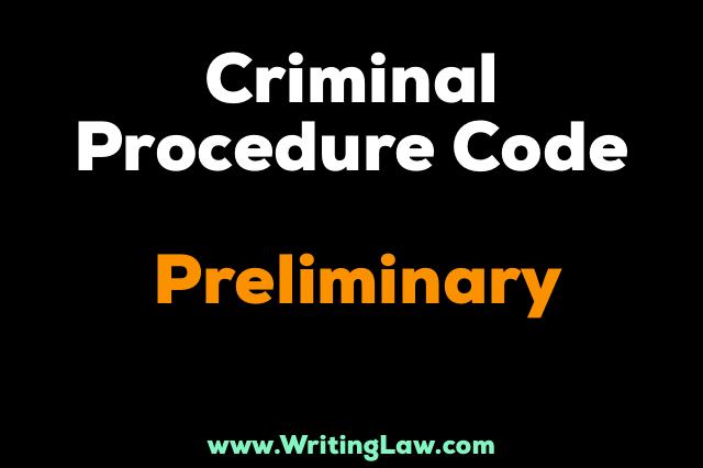 Criminal Procedure Code Chapter I