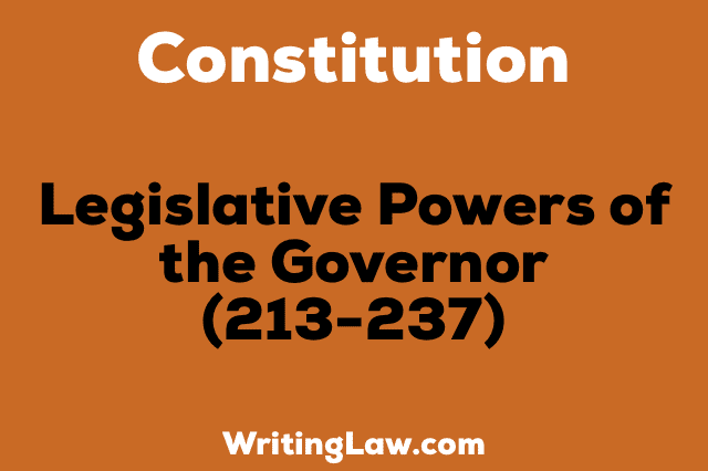 LEGISLATIVE POWER OF THE GOVERNOR