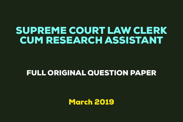 Supreme Court Law Clerk cum Research Assistant