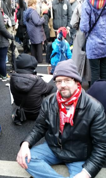 Sit down protest at Nassau Street after being told to return to GPO