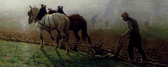 "Detail from Georges Philibert Charles Maroniez's painting ""The Ploughman"""