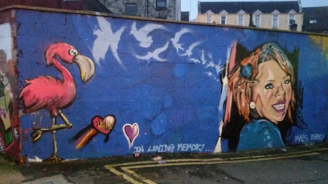 This mural to Mags has been unveiled in town, painted by those to whom she was held dear...