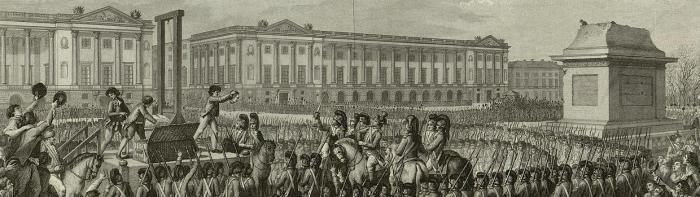 "Engraving: ""Day of 21 January 1793 the death of Louis Capet on the Place de la Révolution"""
