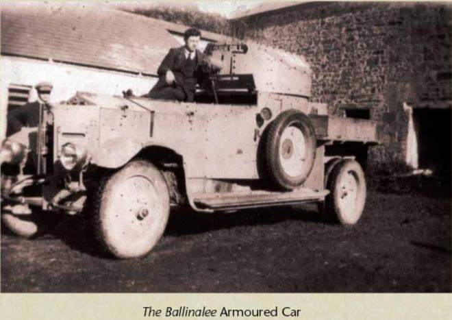 """Anti Treaty IRA forces captured """"The Ballinalee"""" armoured car, and it saw action against the Free State Army in future engagements before being burned out when recapture was beyond prevention. It was renamed """"The Wild Rose of Lough Gill"""""""