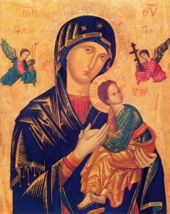 Our Lady of Perpetual Help - By unknown Byzantine painter from the 13th or 14th century,file made by Pablete - Redentoristas, Public Domain, https://commons.wikimedia.org/w/index.php?curid=3414340