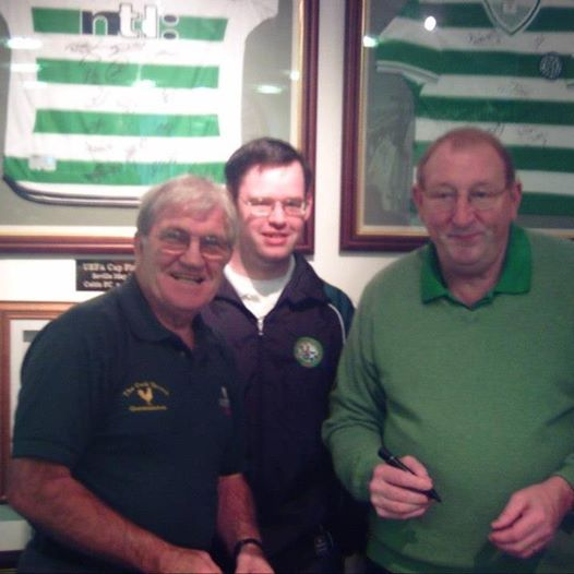 Bertie Auld with Tomás and Tommy Gemmell at a fundraiser for Motor Neuron Disease held in Tullamore by the Jimmy Johnstone CSC