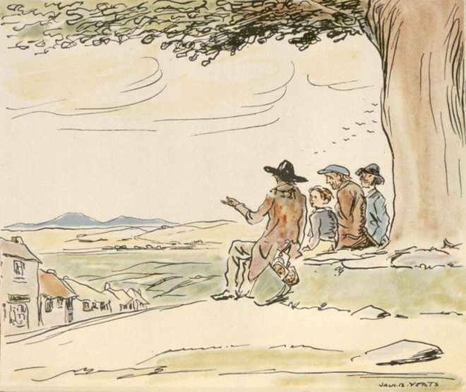 Jack B Yeats illustration from Big Tree of Bunlahy - it was a focal point of the village, some say it blew down on the Night of the Big Wind