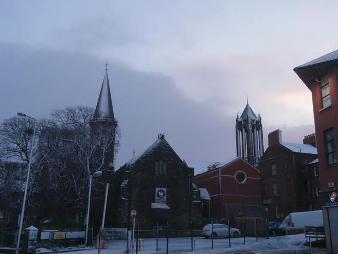 Moravian Church in Belfast in the snow a few years back at Christmas