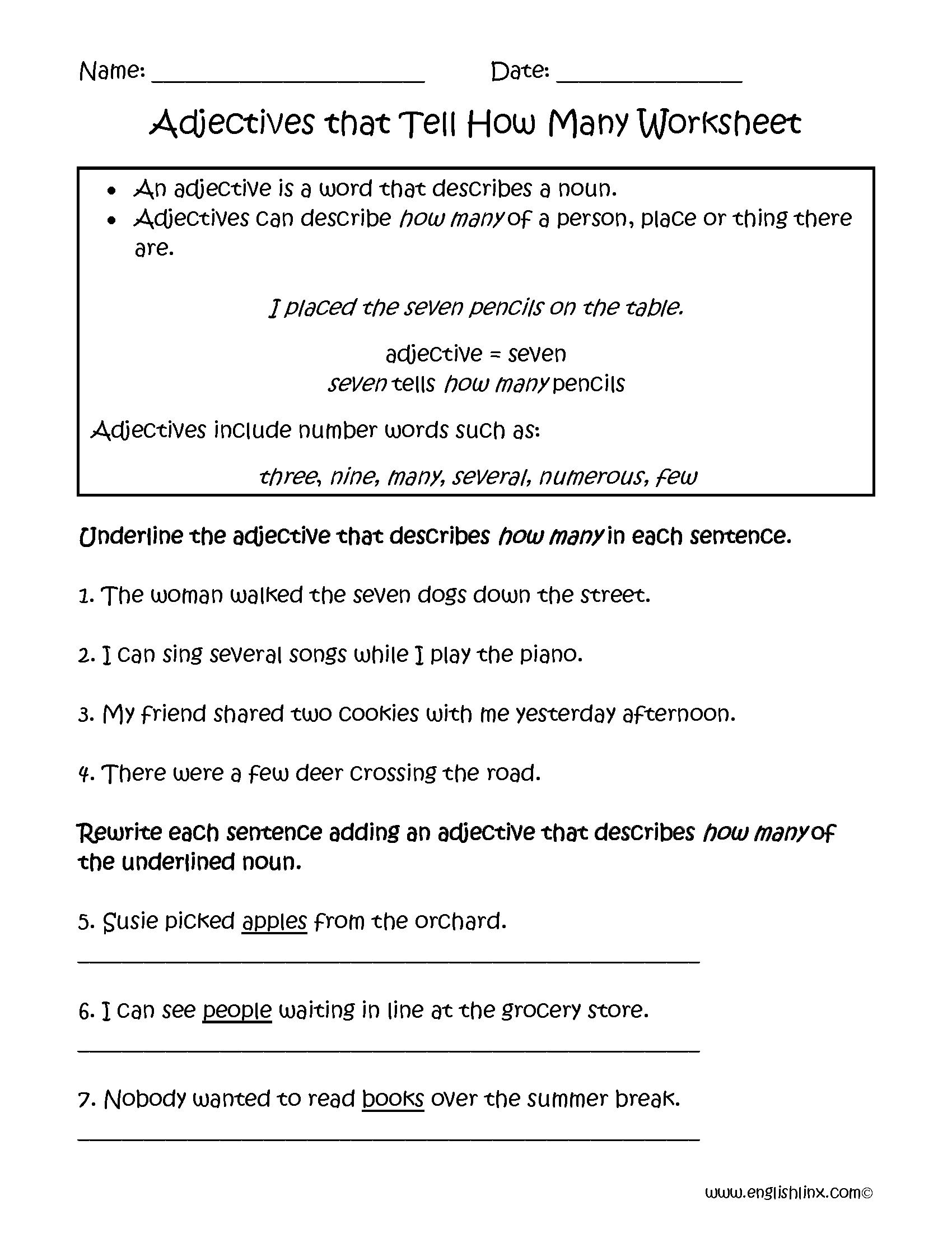 Adjectives Worksheet Writing And Circling Part 1 Answers