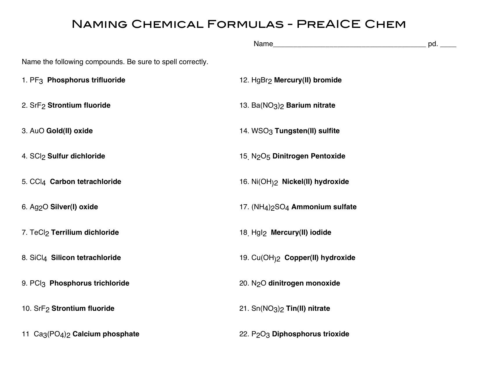 Covalent Compounds Worksheet Formula Writing And Naming