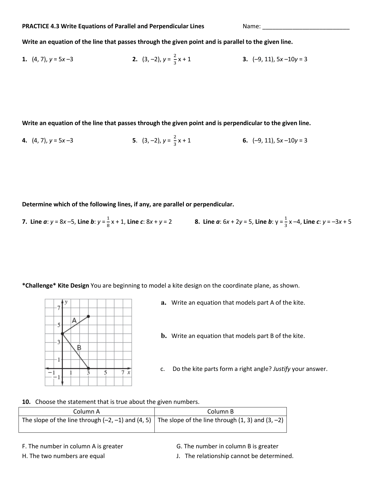 Writing Equations Of Lines Parallel And Perpendicular