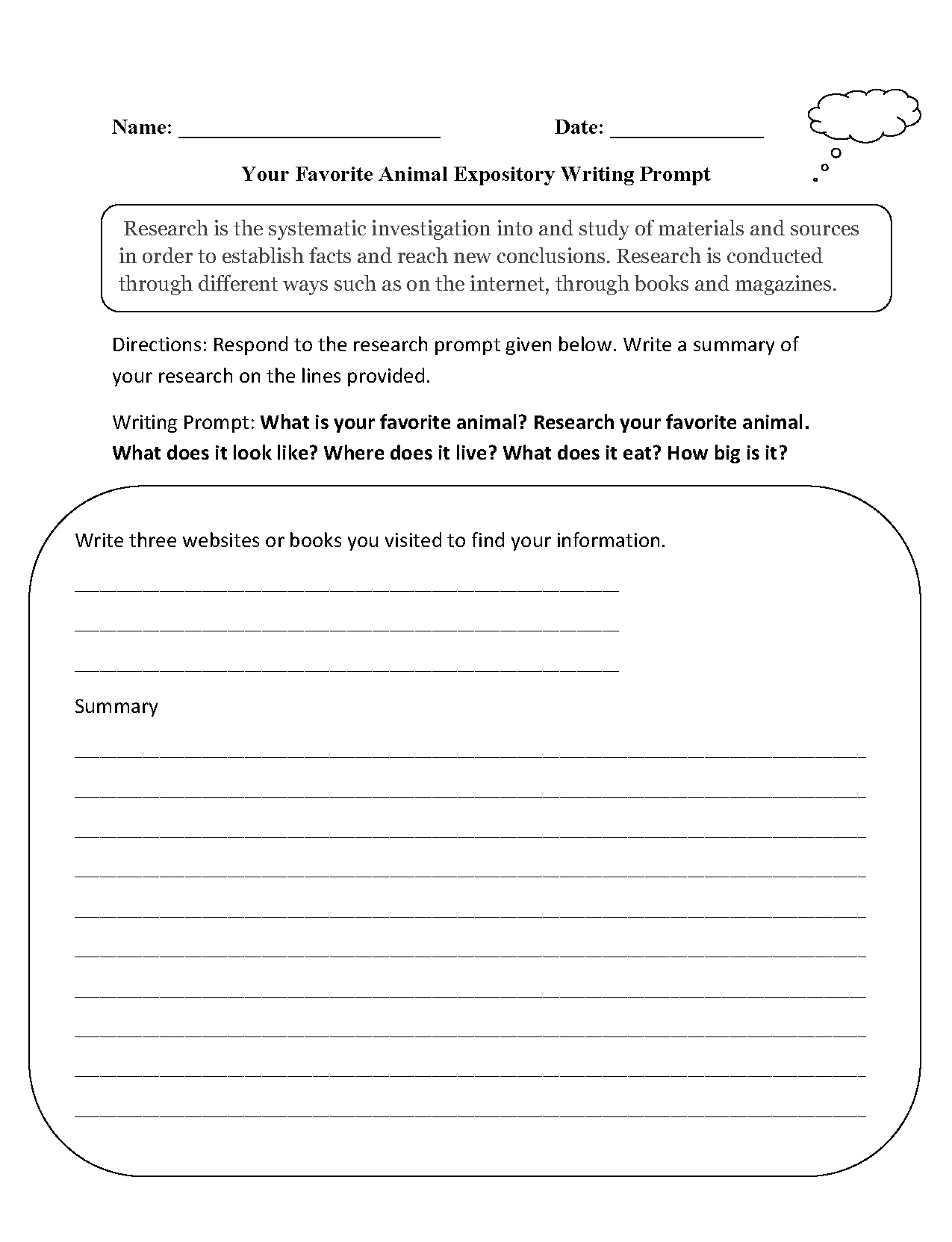 Writing Prompts Middle School Worksheets