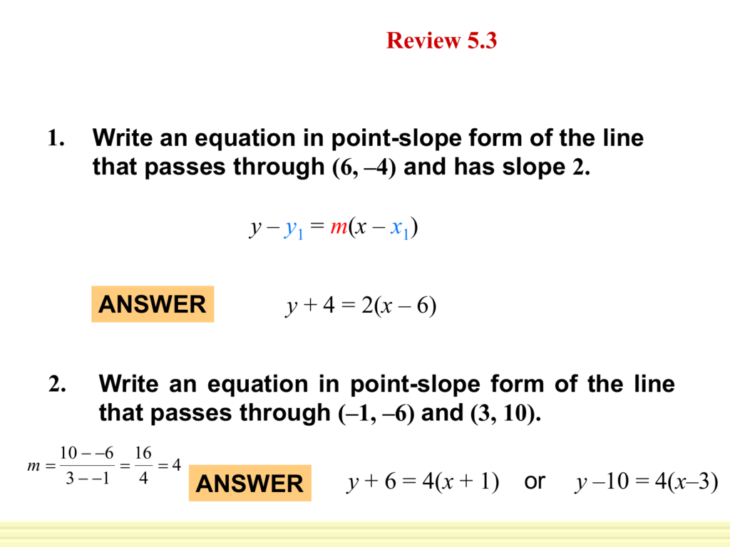 Writing Equations In Standard Form Worksheet With Answers