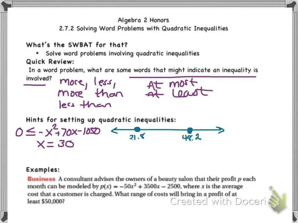 Writing Two Step Inequalities From Word Problems Worksheet