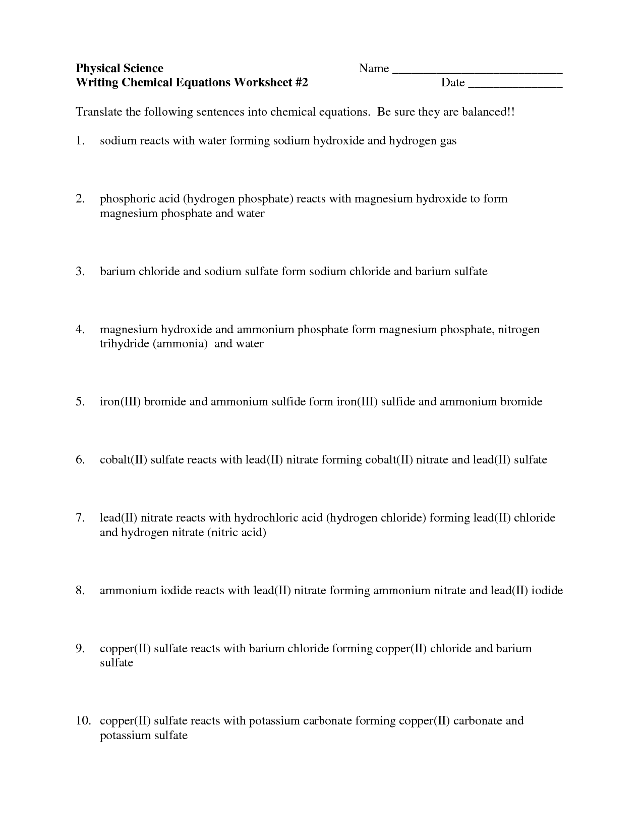 Writing Net Ionic Equations Worksheet With Answers