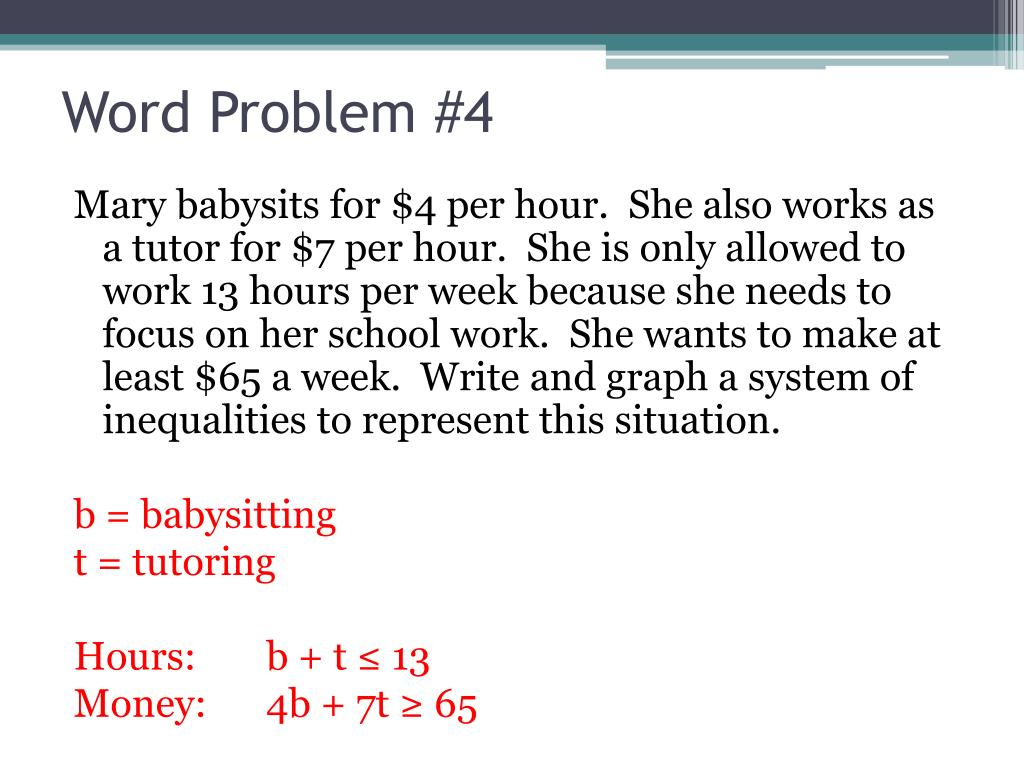 Writing Linear Inequalities From Word Problems Worksheet