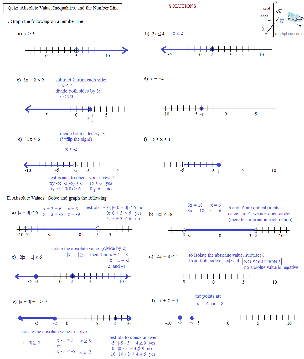Writing Absolute Value Equations Worksheet