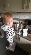 Jamie baking with Daddy