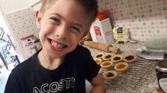 Josh making jam tarts
