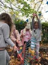 Having fun in the leaves!