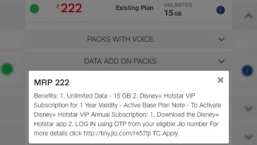 Jio Offering New Rs. 222 Pack With Free Disney+ Hotstar Subscription to Select Users: Report