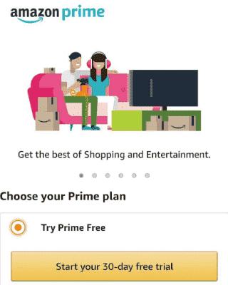 Amazon Prime 30 Days Free Trial