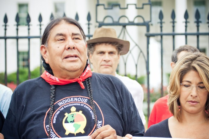 tar sands action - behind tom goldtooth