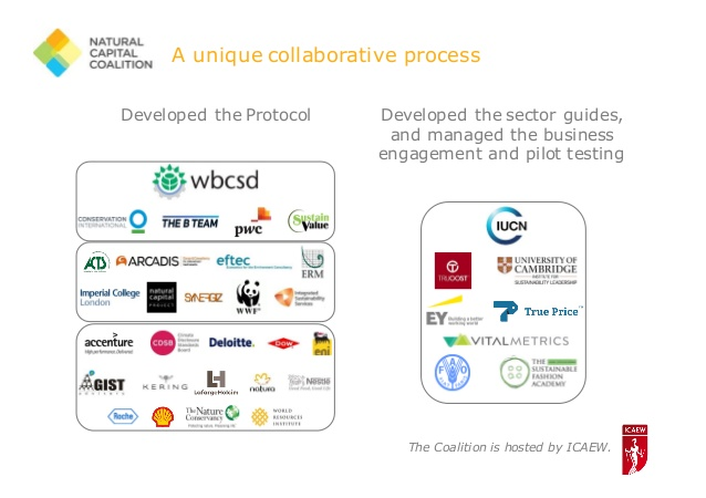 The NGOs & institutions that developed the Natural Capital Protocol