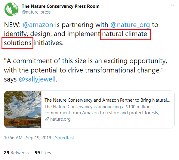 "September 19, 2019: Amazon announces partnership with The Nature Conservancy for the implementation of ""natural climate solutions"" initiatives"