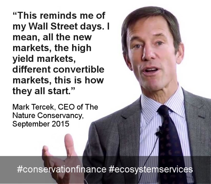 Mark R. Tercek is the former president and CEO of The Nature Conservancy stepping down June 7, 2019. [A #MeToo scandal engulfs The Nature Conservancy]. He is co-author of the book Nature's Fortune: How Business and Society Thrive by Investing in Nature