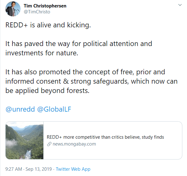September 13, 2019, Twitter: Tim Christophersen coordinates the work on forests and climate change at the United Nations Environment Programme (UNEP), including UNEP's role within the UN-REDD Programme, a collaborative initiative of the UN Food and Agriculture Organization (FAO), the UN Development Programme (UNDP) and UNEP