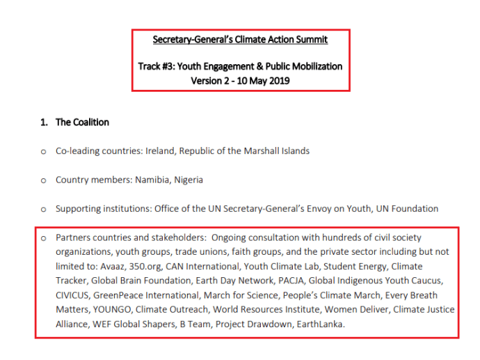 Youth Engagement and public mobilization partners in the lead up to September 21, 2019 United Nations Climate Action Summit