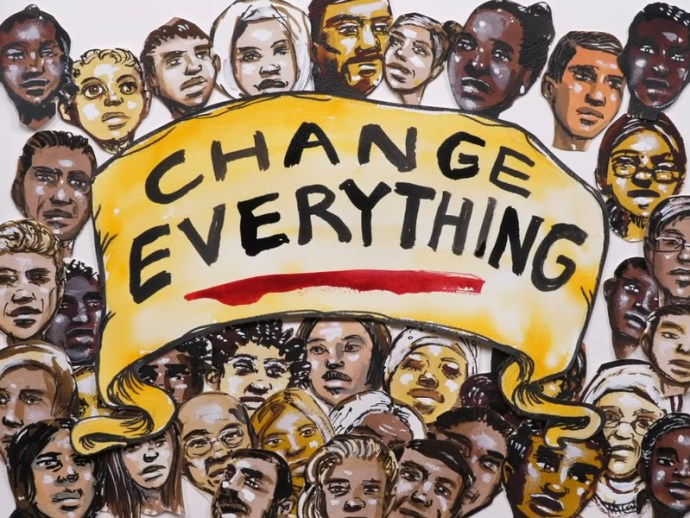 """Change Everything"" - Illustration from the US Green New Deal promotional video directed by Naomi Klein: ""A Message from the Future With Alexandria Ocasio-Cortez"""